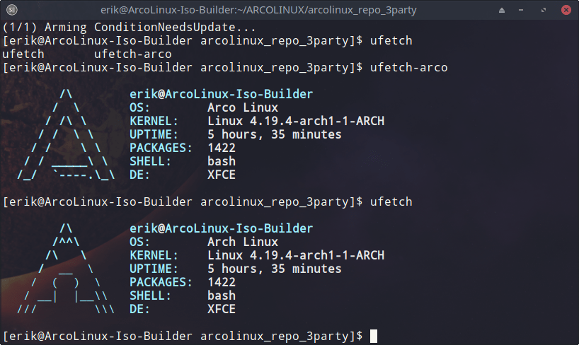 How to make a PKGBUILD for ufetch-arco