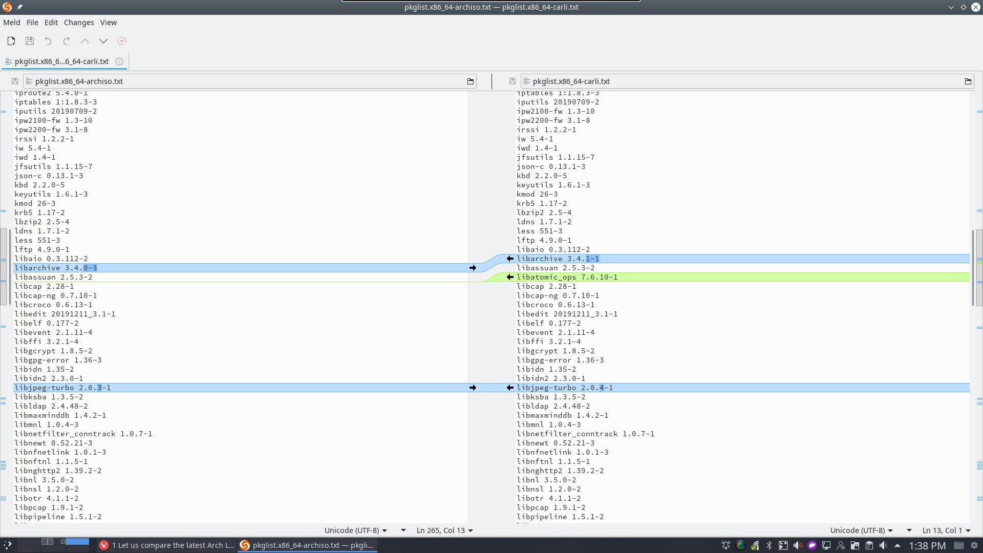 1 Let us compare the latest Arch Linux release with Carli